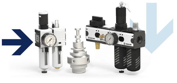 Wartungssysteme mehrteilig für Druckluft, Filter für Druckluft, Öler für Druckluft