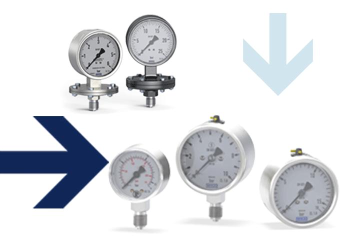 Plattenfedermanometer, Standardmanometer, Edelstahlmanometer, Thermometer