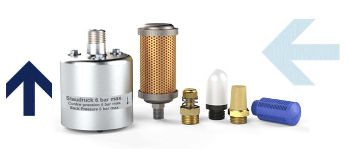 Schalldämpfer aus Kunststoff, Sinterbronce, Edelstahl und Vyon