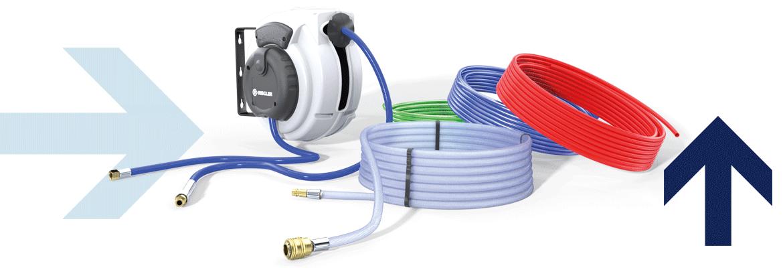 Schlauchaufroller, PVC-Gewebeschlauch, PUR-,PU-,PE-Schlauch